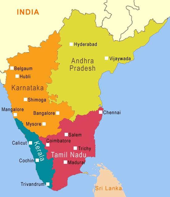 India Meridionale Cartina Geografica.India Del Sud Mappa E Itinerario Da Kerala